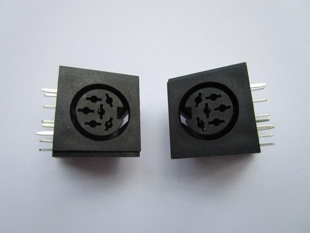 10 Uds circulares DIN Jack hembra S Terminal 6 pin montaje en PCB conector