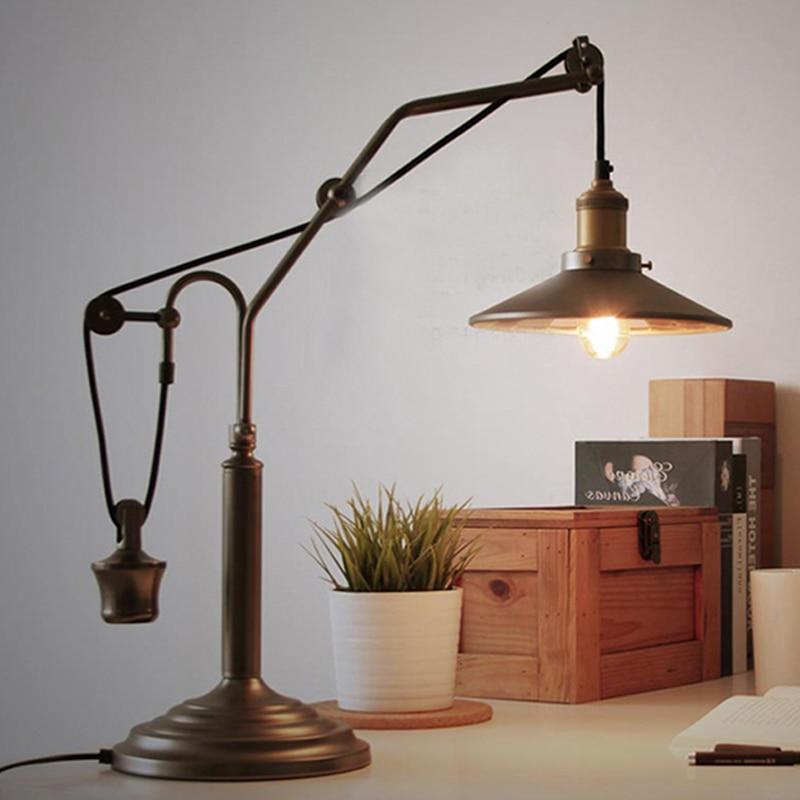 Винтажная американская сельская промышленная Настольная лампа с железным