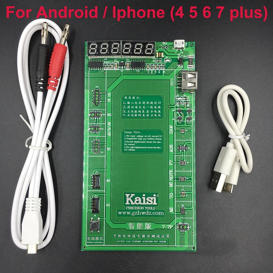 kaisi original dc power supply phone current test cable for apple iphone 7g 6p 6 5s 5g 5 4s test wire repair tools Kaisi  Battery Activation Charge Board for Android  phone 7 Plus 6S 6 Plus 5S 5 4S 4+micro USB Cable phone repair tool