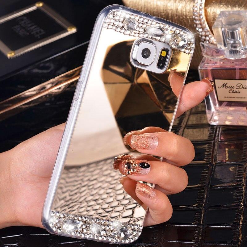 Для Samsung Galaxy J1 J3 J5 J7 A3 A5 2016 2017 A8 2018 Plus S6 S7 Edge S8 S9 Plus зеркальный чехол со стразами мягкие ТПУ чехлы для телефона