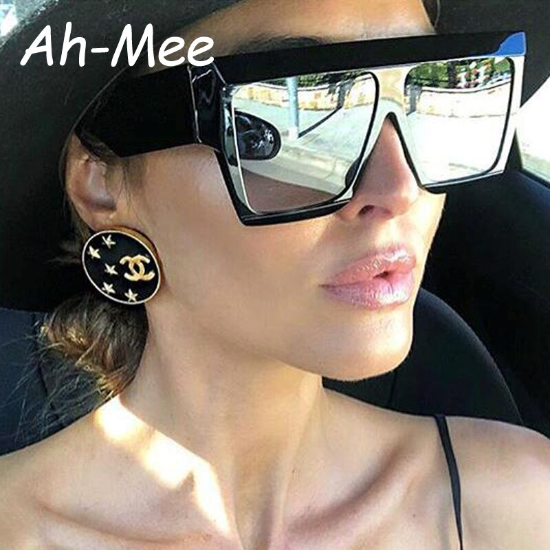 Women Sunglasses Oversize Square Fashion Female Men Acetate Frame Flat Top Vintage Brand Designer Su