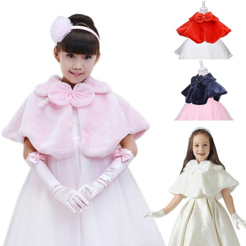 Flor niñas Faux Fur Shrug dama de honor boda Bolero niños capa abrigos YH-17