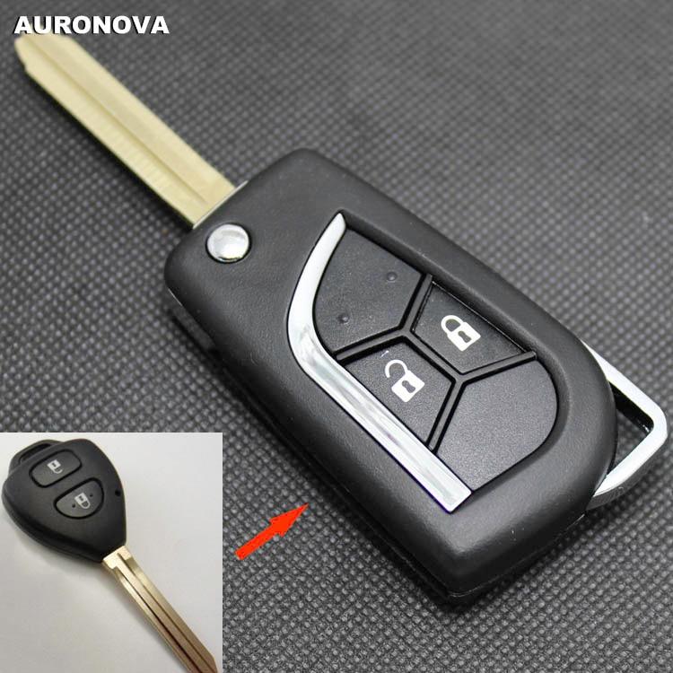 AURONOVA New Upgrade Flip Folding Key Shell for Toyota Corolla Rav4 Vios Yaris  2 Buttons Modified Remote Car Key Case