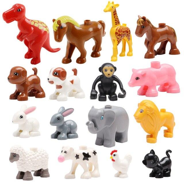 Grandes bloques de animales hipopótamo jirafa elefante cocodrilo leapard mono oso cebra panda Tigre duploed juguetes compatibles