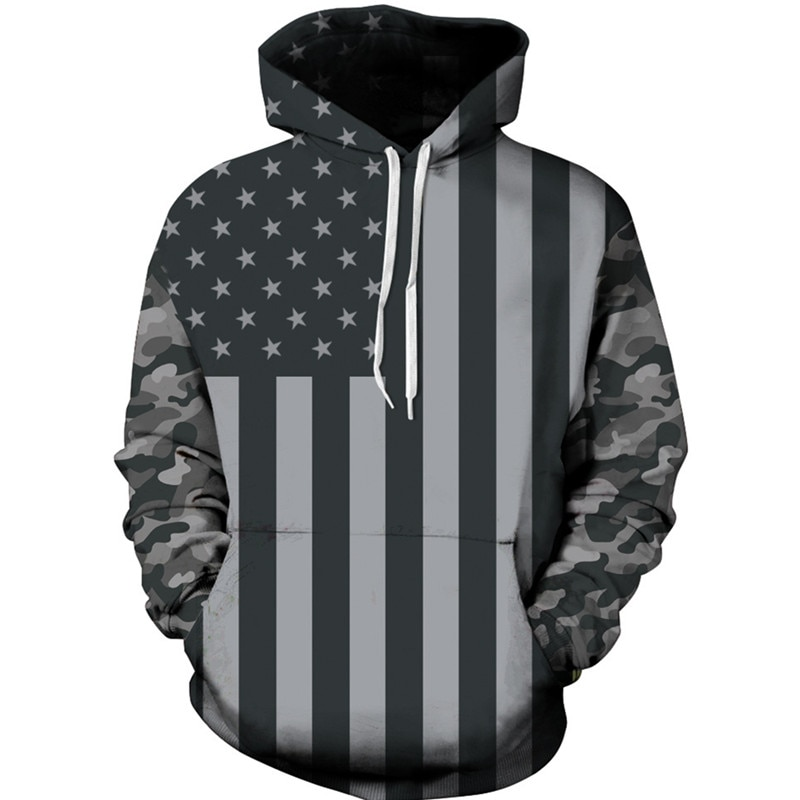 Harajuku 3D Print Galaxy Camouflage American flag Fashion Sweatshirts Long sleeve with hat Men Women vogue Hoodies Tops Tracksui