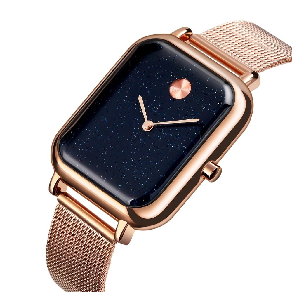 SKMEI Brand Luxury Lover Watches Quartz Dress Women Men Watch Couples Wristwatch Sliver Mesh Stainless Relojes Hombre  9187