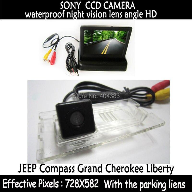 Accesorios para coche, Monitor de espejo retrovisor + cámara de Vista trasera de coche CCD HD especial, resistente al agua para JEEP Compass Grand Cherokee Liberty