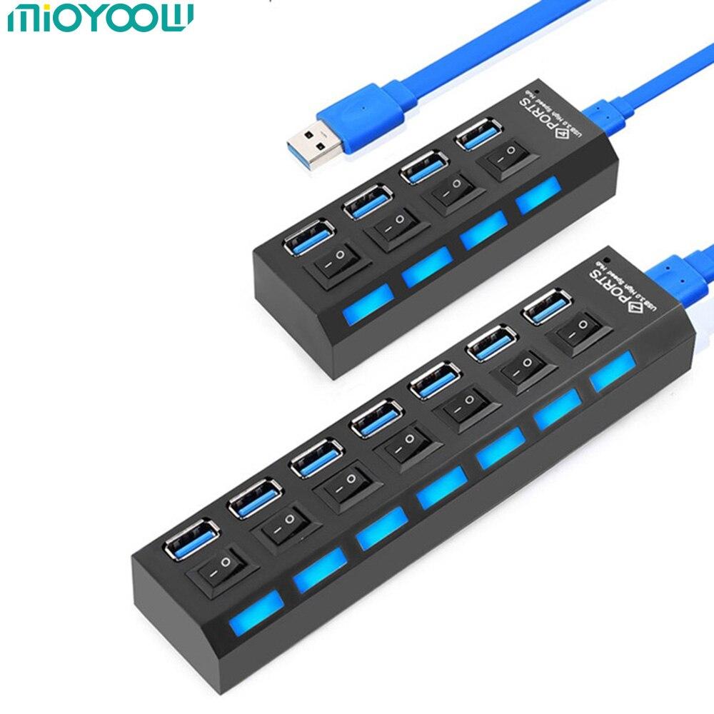 MiOYOOW Hub USB 3,0 alta velocidad 4/7 puertos Mini portátil 5Gbps USB 3,0 Hub Splitter On/Off interruptor para ordenador portátil MacBook