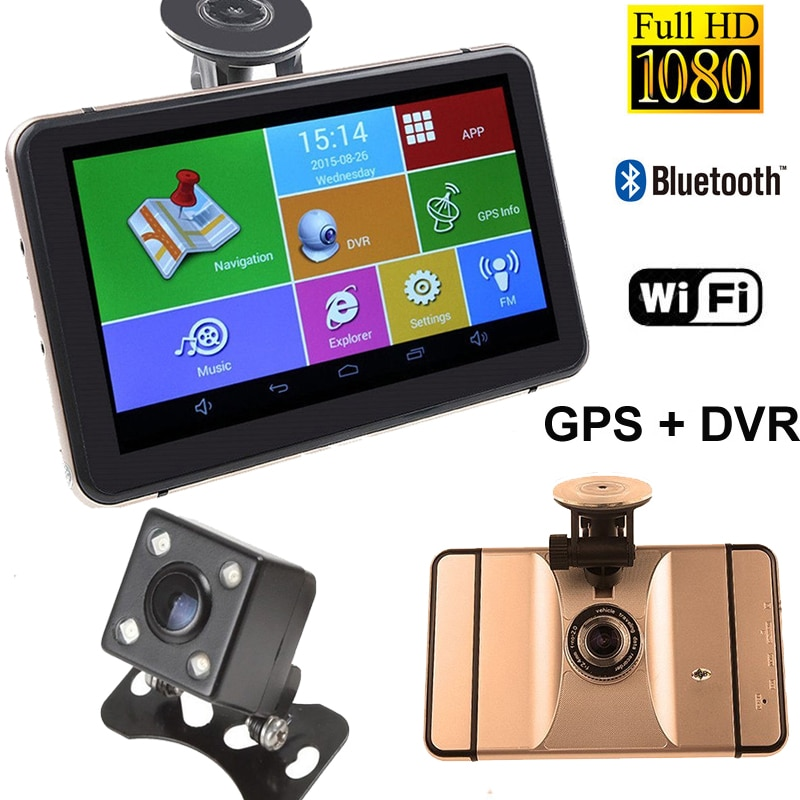 """7 """"navegação gps do carro dvr gravador câmera android 1080 p 512 mb 8 gb veículo gps navegador sat nav com câmera de visão traseira mapas livres"""