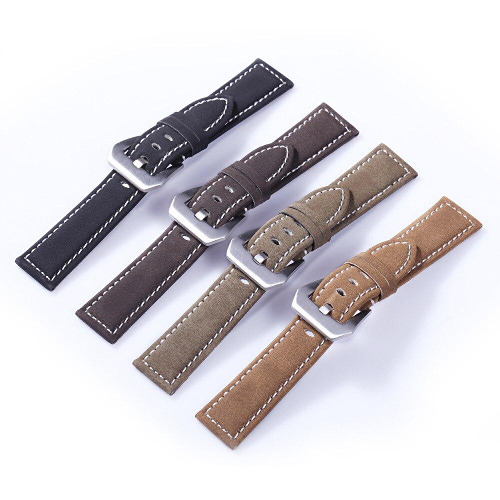 Pulseras Retro de cuero genuino esmerilado, correa para reloj de 18mm, 20mm, 22mm y 24mm, accesorios para reloj de pulsera para mujer y hombre