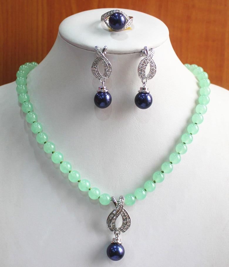 Prett encantadora de boda de las mujeres mejor regalo conjunto de joyería venta al por mayor, precio de fábrica de las mujeres luz verde semi-preciosas collar con piedra de gema