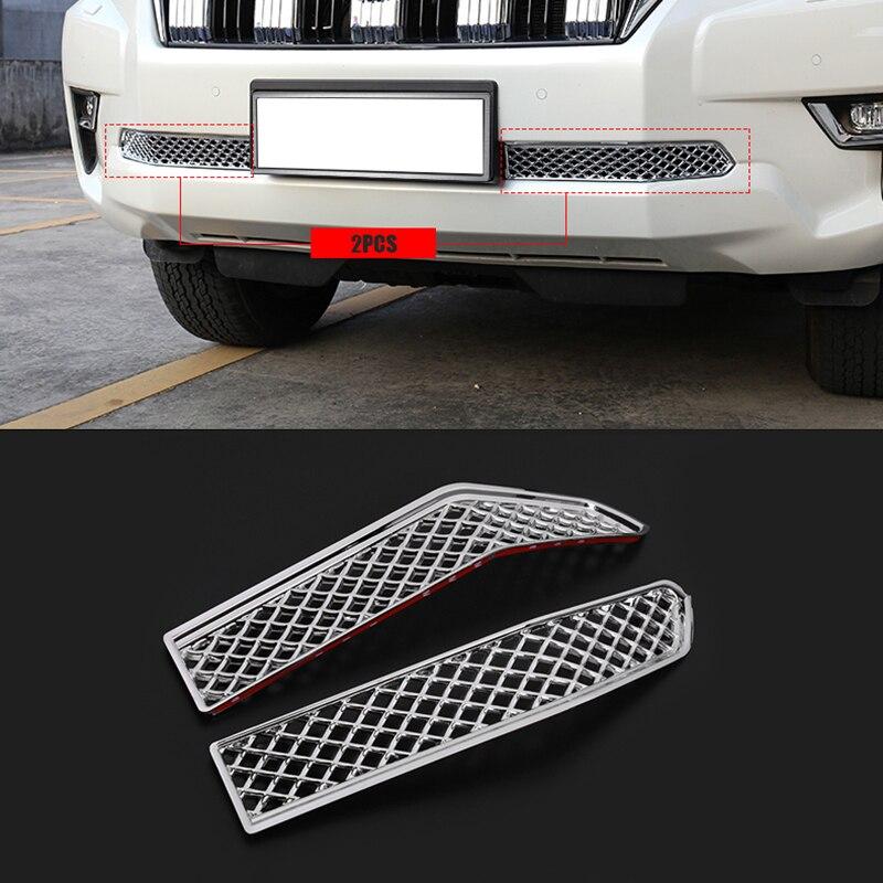 2 uds ABS cromado para mosquitera de coche rejilla frontal inferior para Toyota Land Cruiser Prado 150 2018 LC150 FJ150 Accesorios