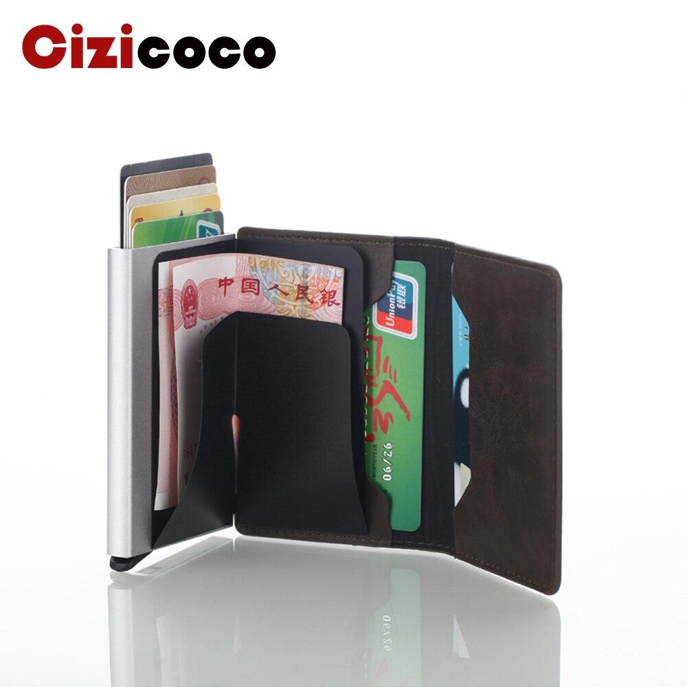 Titular do cartão de crédito do couro do plutônio dos homens titular do cartão de crédito de alumínio anti-roubo