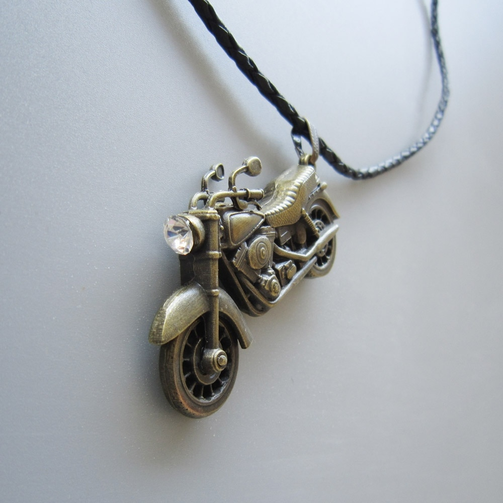 Antique Bronze Plated Motorcycle Rhinestone Spinner Metal Charm Pendant Leather Neck Tie