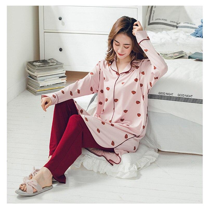 Long-sleeved Korean Strawberry Pattern Cotton Gestation Pajamas Sets Turn-down Collar Pregnant Women Nursing Nightgown