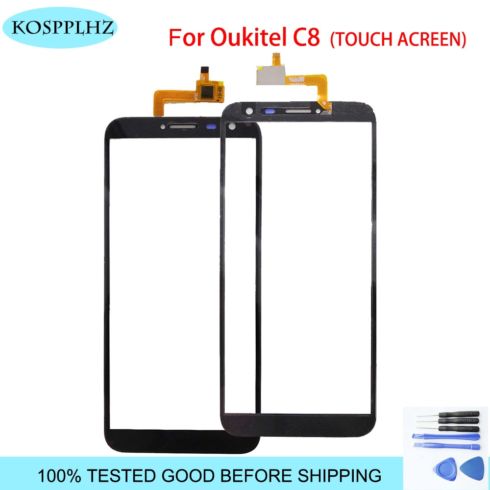 Kosplhz 5,5 pulgadas de alta calidad para oukitel C8 4G pantalla táctil de cristal Panel de pantalla táctil para Sensor digitalizador frontal C 8