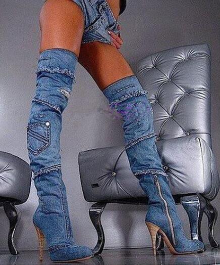 Sestito, botas de mezclilla de retales para mujer, botas por encima de la rodilla con punta puntiaguda y cremallera lateral, zapatos de vestir con tacón alto