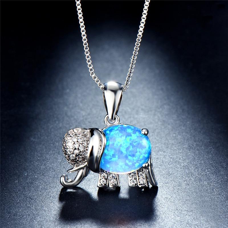 Colgantes JUNXIN Arco Iris fuego elefante ópalo oro blanco relleno Blanco/azul ópalos collares para mujeres de cristal CZ para bodas gargantilla