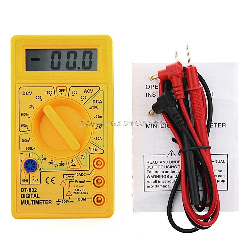 Multímetro Digital LCD DC AC voltímetro amperímetro Ohm profesional DT832 Tester