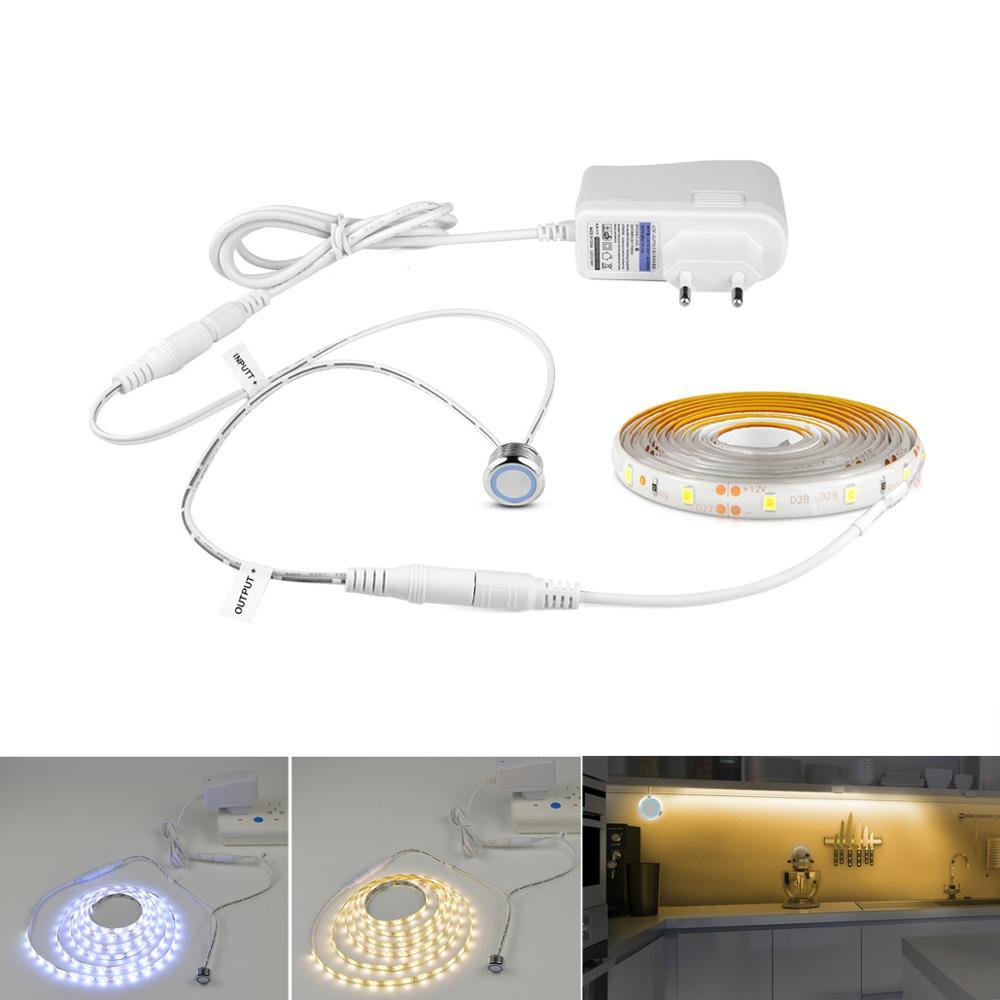 220 V 110 V Touch Sensor Schakelaar LED Strip Licht 12 V Flexibele lijm led tape lamp voor Nachtkastje Kast PC Scherm Backlight Decor
