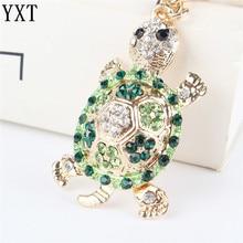 Green Tortoise Turtle Pendant Charm Rhinestone Crystal Purse Bag Keyring Key Chain Accessories Wedding Friend Lover Gift