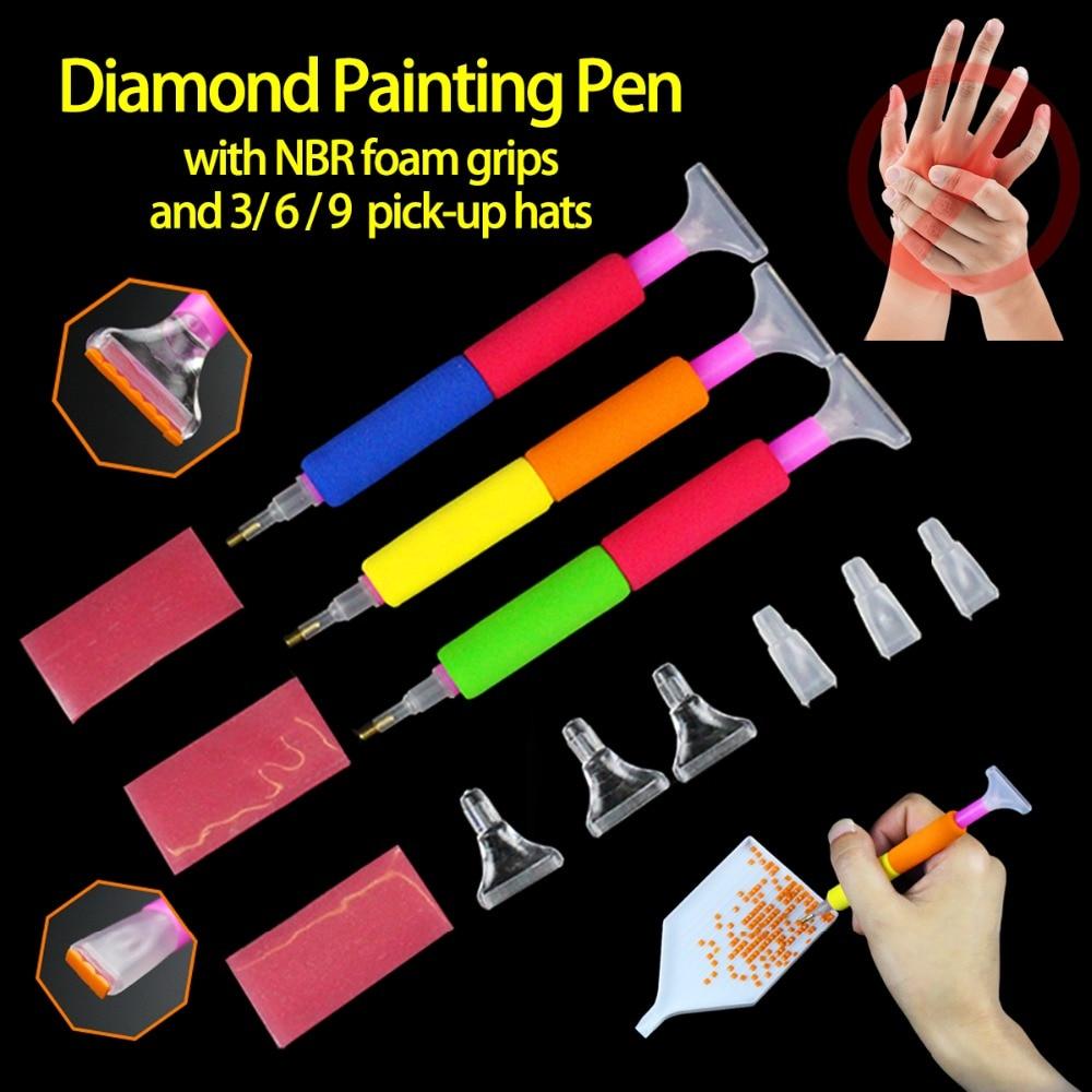 Pluma de pintura de diamante con soporte de espuma NBR herramienta útil cómoda de agarre para evitar dolor de mano para Patrón de mosaico de bordado de diamantes