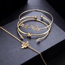 4 Pcs/ Set Classic Arrow Knot Round  Multilayer  Open Bracelet Set Women Fashion Pendant Bangles  Femme Bracelet Jewelry