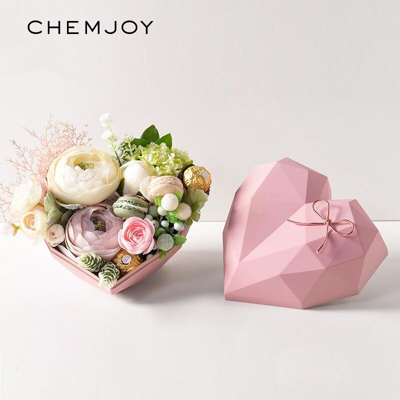 Caja de flores con forma de corazón de diamantes, ramo florista, cajas de embalaje de regalo, caja de ordenación de cumpleaños, fiesta, manualidades decoración hogareña