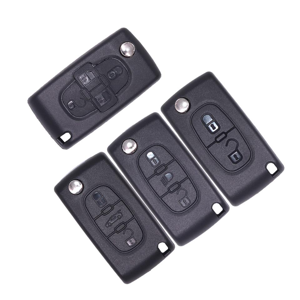 Carcasa de llave con tapa para mando a distancia de 2, 3, 4 botones para Peugeot 207 307 307S 308 407 607 807 para Citroen C2 C3 C4 C5 C6 C8 Xsara