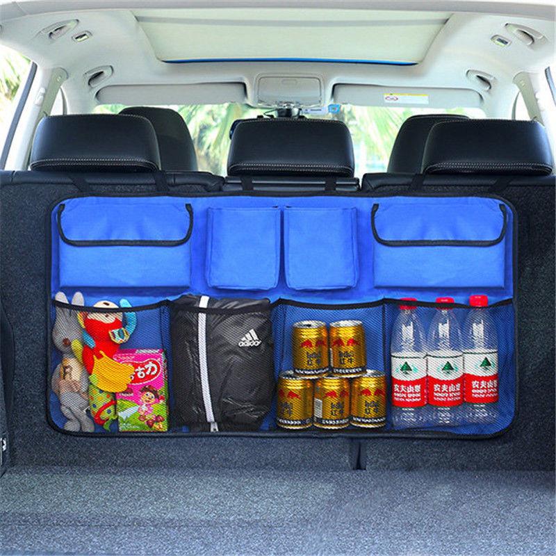 2019 Faroot Almacenamiento portátil de coche bolsa Universal Auto de red de malla bolsillo organizador maletero trasero bolsa de almacenamiento para asiento trasero