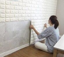 Autocollants muraux 3D auto-adhésifs bricolage   70x 77cm, décor en brique de mousse, pour chambre à coucher, papier peint, autocollant mural de décoration pour chambre denfants