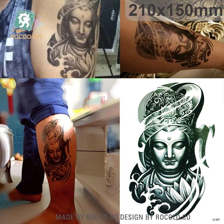 LC-827/21*15 cm Tattoo grande adhesivo bronce Buda cabeza dibujo diseños temporal sensacional escuela tatuaje pegatinas Joss nuevo