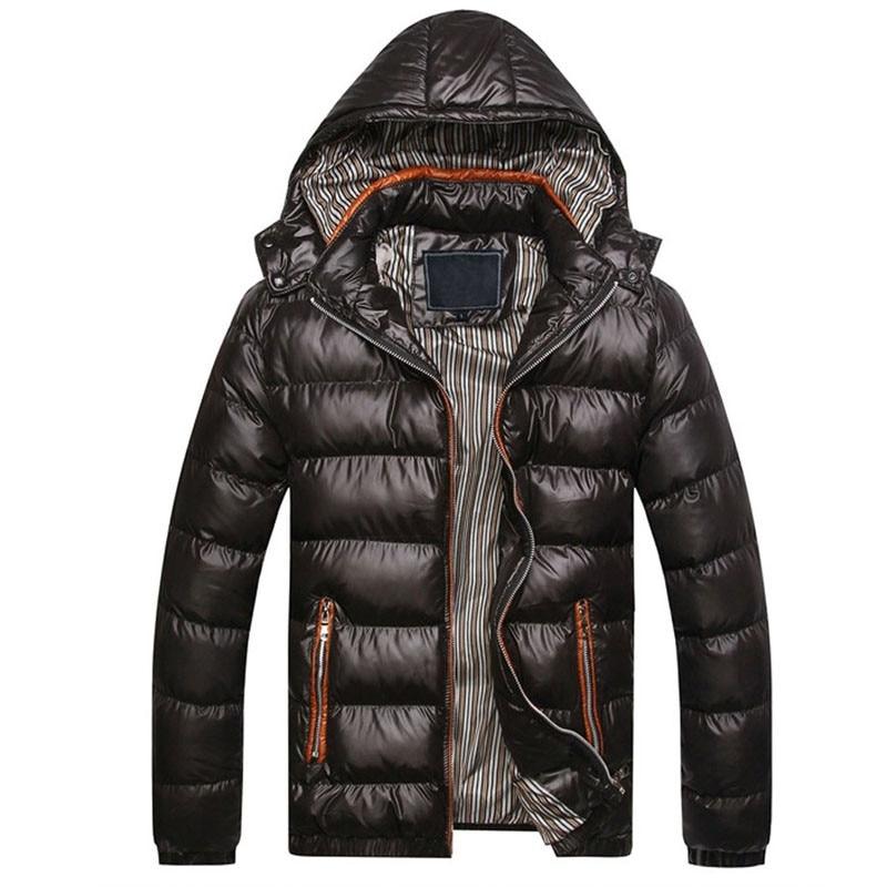 2021 Повседневная зимняя куртка с капюшоном, Мужская однотонная Теплая мужская хлопковая парка, Мужская модная Толстая теплая куртка и пальт...