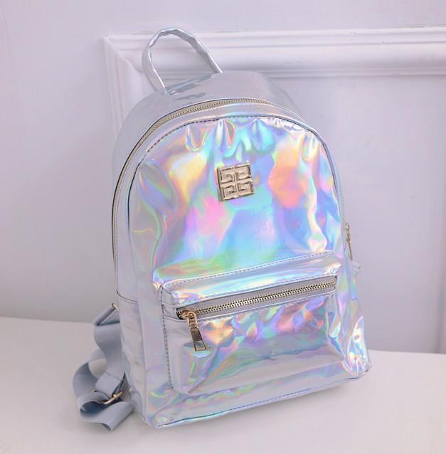 ¡OFERTA 2016! Mochila holograma para estudiantes de escuela, mochila holográfica láser Color plateado, mochila Masculina Multicolor