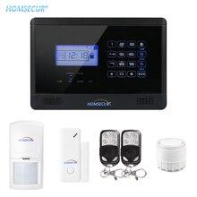 HOMSECUR LCD Wireless & Wired GSM Home Security Einbrecher Alarm System Kit Mit SOS Intercom PIR Fernbedienung YA09