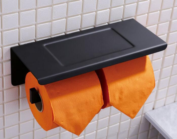 ماتي أسود اللون مزدوجة لفة ورق التواليت أصحاب متعددة الوظائف رفوف الحمام اكسسوارات الحمام PF260