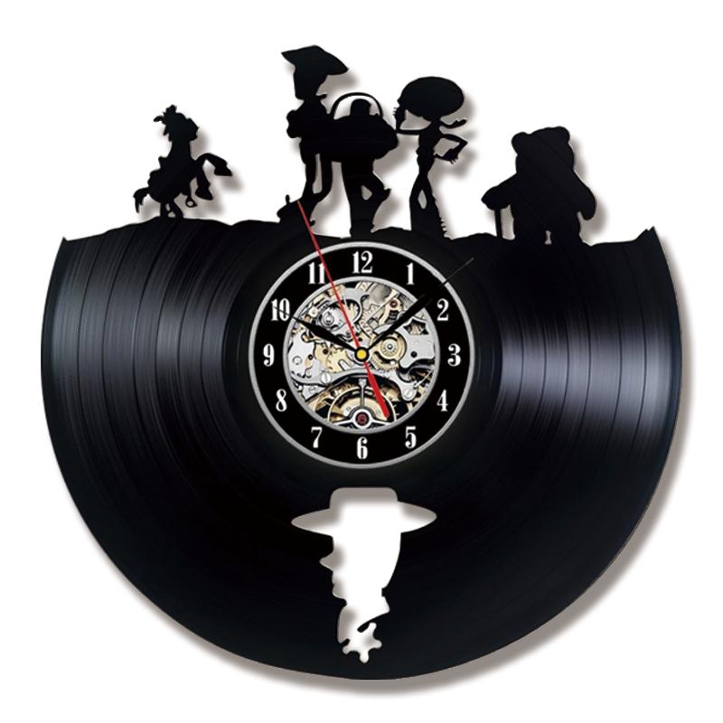 Toy Story Wall Clock Modern Design Creative Black Clocks Classical Retro Style Vinyl LP CD Record Wall Watch Home Decor Silent