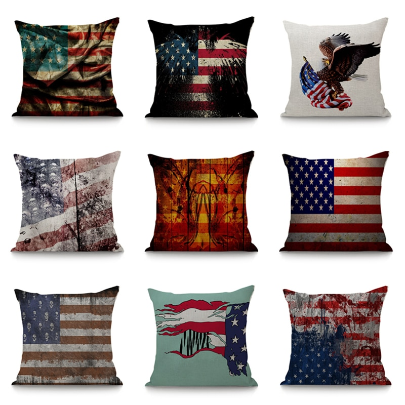 Bandeira americana padrão capa de almofada 45x45cm para o sofá do carro decoração para casa decorativa cadeira de assento linho travesseiro caso decoração do quarto