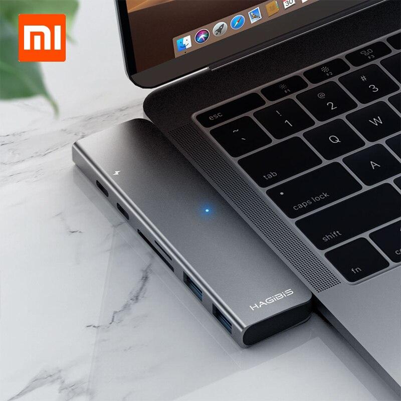 Адаптер для зарядки Xiaomi hagxiaomi USB Type-C 7 в 1 TF/SD/PD/2 USD 3,0/HUB HDMI зарядное устройство для Macbook Pro/air