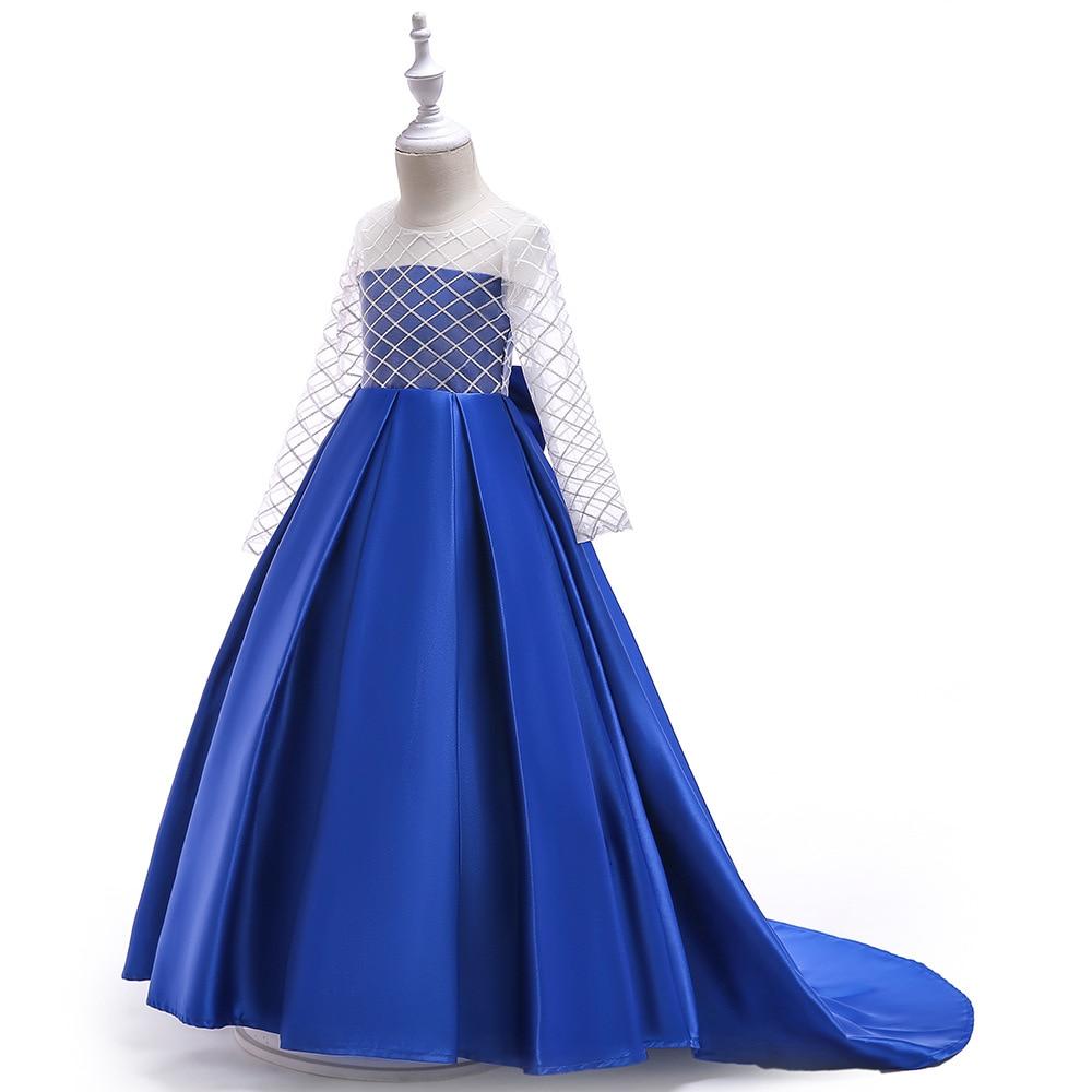 Vestido de boda para niñas, vestido de princesa de manga larga, elegante vestido de fiesta para niñas, traje para niñas 5 9 10 11 12 año