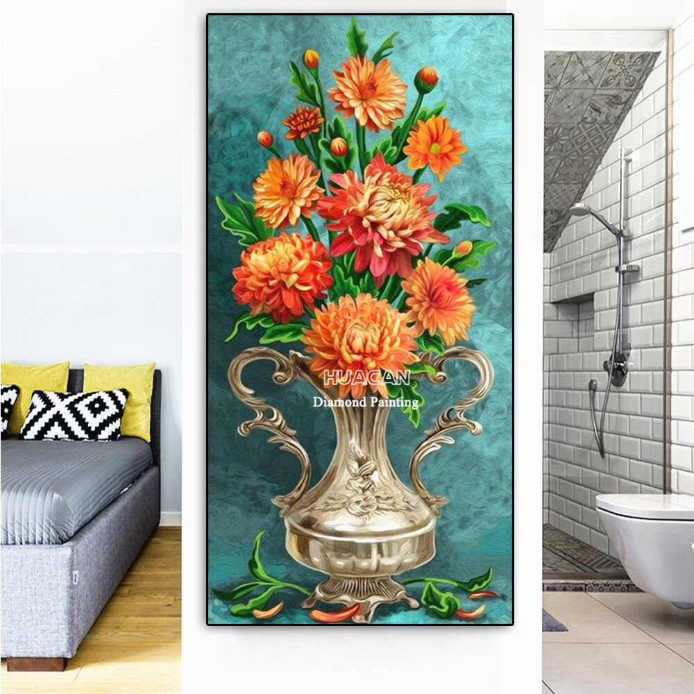 HUACAN bordado con diamantes Flor de visualización completa 5d diamante decoración de pintura hogar completo taladro cuadro con imagen Rhinestone regalo de mosaicos