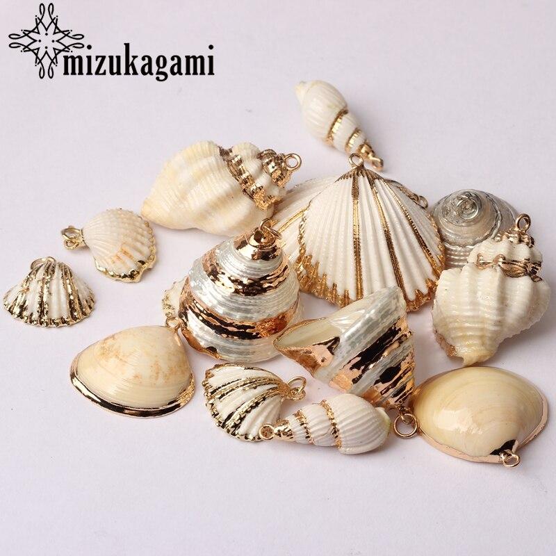 Blanco Natural cáscara Concha colgante de encantos 2 unids/lote para DIY moda Bohemia playa Accesorios de fabricación de la joyería