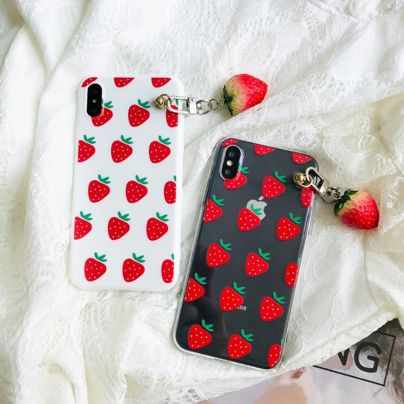 Funda de teléfono japonesa fresa kawaii chicas con colgante para iPhone 7 8 plus 6s 11 Pro XS max funda de silicona para iPhone X XR