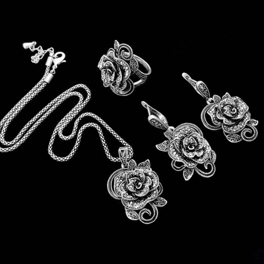 Комплект ювелирных изделий из стерлингового серебра 925 пробы Parure Bijoux Femme, розовое ювелирное изделие, Полный CZ Кристалл, комплект ювелирных и...