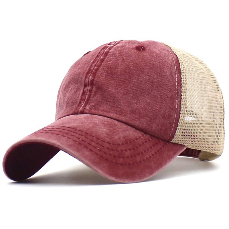 Washed Dye Cotton Mesh Dad Hat Summer Trucker Cap Adjustable Snapback Baseball Hat Old School Style Black Navy Grey Orange Khaki