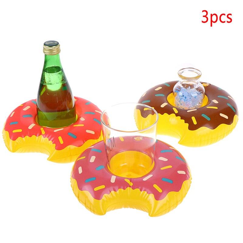 3 unids/lote Donuts inflable bebida de agua vaso flotante del círculo para nadar Fiesta EN LA Piscina decoraciones