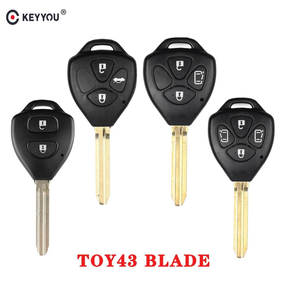 KEYYOU 2/3/4 кнопки чехол для дистанционного ключа от машины оболочки FOB для Toyota Camry RAV4 Yaris Prado Tarago Corolla REIZ Crown Avalon Venza