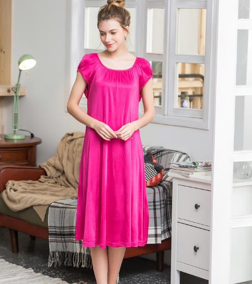 100% Silk Nightgown Basic knitted Nightwear Soft Sleepwear for Skin Care Fashion Summer Dress Free shipping