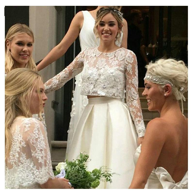Купить с кэшбэком LORIE Wedding Dress Two Pieces Long Sleeve A-Line Lace Top Bridal White Ivory Floor Length Bride Dress Wedding Gown 2021