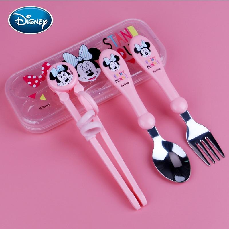 Disney 3 piece set Minnie Mickey childrens cutlery set baby home learning training chopsticks cutlery spoon set